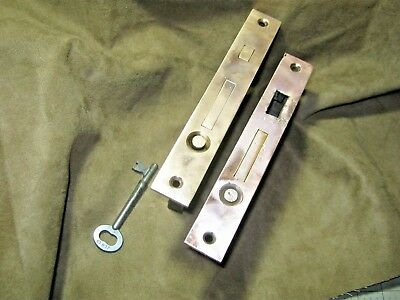 Pair CORBIN Pocket Sliding Door Mortise Lock Plain Brass Face w/ KEY