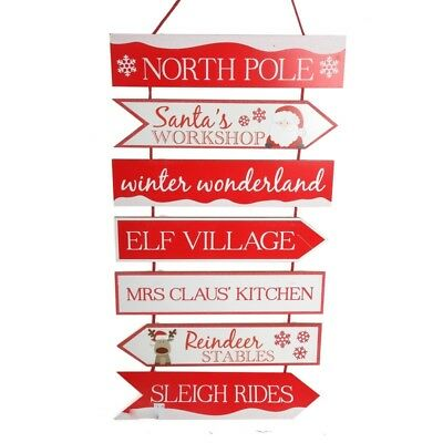 Santa North Pole Large Wooden Hanging Christmas Sign Decoration Plaque Red White