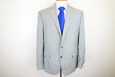 New Calvin Klein Gray Crosshatch Mens Two Button Wool Sports Coat Size 46R