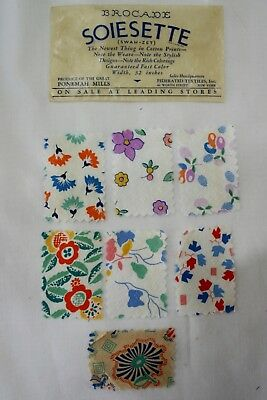 3 Sets Vintage Mail Order Fabric Samples & Ad ~1930's 40's ~ Soiesette, Flaxon