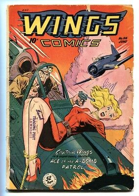 WINGS COMICS #94 Golden-Age Weird menace bondage cover-Wild issue!