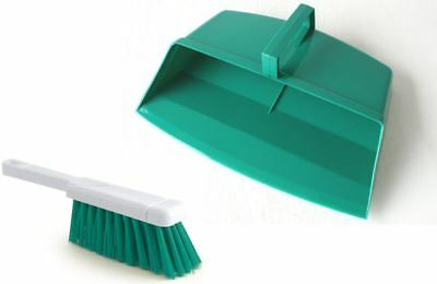 Green Hooded Plastic Dustpan And Brush Set Dust Pan Floor Sweeping Cleaning