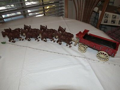 Vintage cast iron 8 horses Horse drawn buggy carriage wagon antique delivery