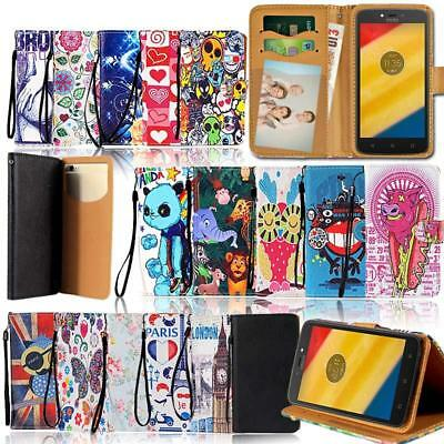 Leather Wallet Stand Flip Case Cover For Various Motorola Moto E SeriesPhone