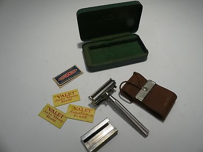 Vintage Safety Valet Autostrop Razor New York In Box w Blades And Leather Strap