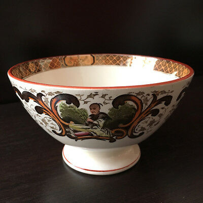 Ancien Bol Faïence Fine U&C Sarreguemines Décor Asiatique Big antique Bowl 19thC