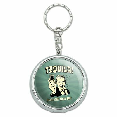 Tequila Brain Off Liver On Funny Humor Retro Portable Travel Ashtray Keychain