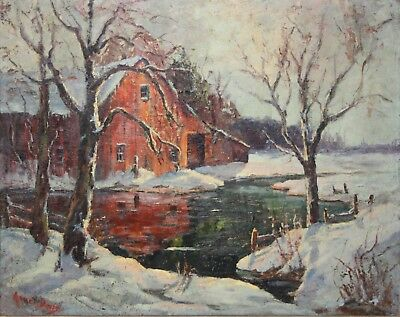 AMEE DAVIS-NJ/Gloucester MA Realist-Original Oil Painting-Rural Winter Landscape
