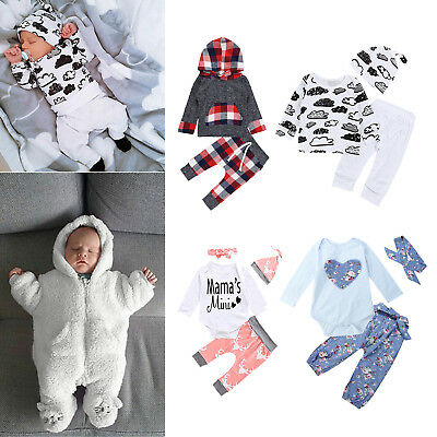 Kids Baby Infant Boys Girls Long Sleeve Tops Cap Pants Trousers Clothes Outfits
