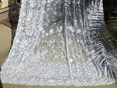 """pair Joined Victorian Tambour Lace Curtains/Panels Floral French Country 108x42"""""""