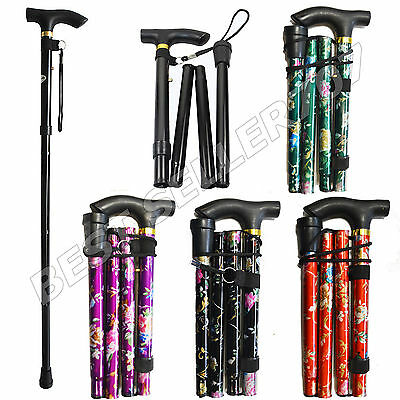 New Flower Plain Adjustable Light Weight Easy Fold Aluminium Walking Sticks