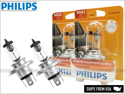 H4 9003 HB2 PHILIPS Standard Halogen Bulbs 9003B1 OEM Quality 60/55W | Pack of 2
