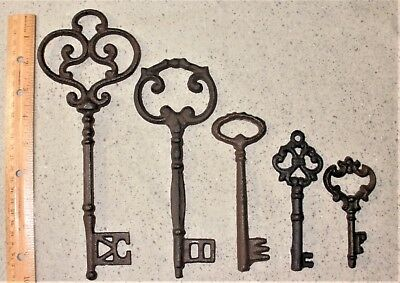 NEW~Mixed Lot of 5 Ornate Cast Iron Rust Antique-Style Skeleton Keys #4