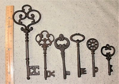 Mixed Lot of 6 Ornate Cast Iron Rust Antique-Style Skeleton Keys #5