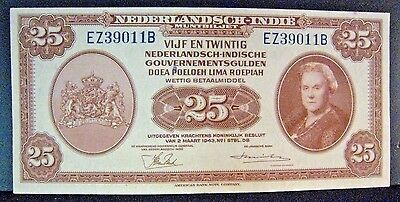 1943 Netherlands Indies 25 Gulden Bank Note High Grade  ** Free U.S. Shipping **