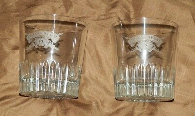 """Two """"Chivas Regal"""" Low Ball Glasses Von Pok France Etched Name Weighted Base"""