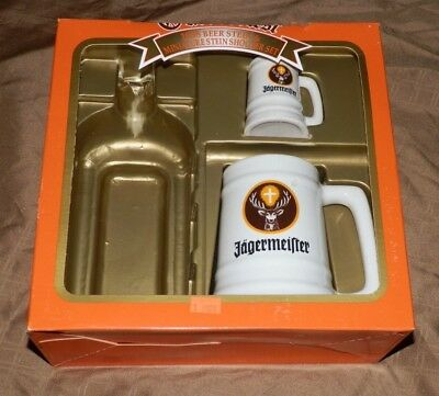 Jagermeister '98 Oktoberfest [LOT of 2] Ceramic Drink Stein Mug + Shot Glass Mug