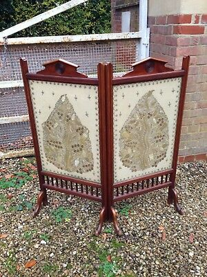 Victorian Mahogany Fire Screen With Embroidered Panels