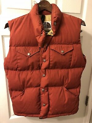 9541b4041 THE NORTH FACE Vintage Brown Label Mens Down Puffer Vest Snap Buttons USA  Size S