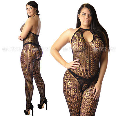 24OB Plus+ size UK12-22 Open Crotch Crotchless Bodystocking Suit Lace Neckline