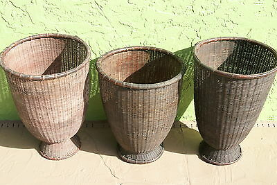 4 Rare Old Asian Collector Open Weave Storage Rattan Baskets Borneo Very Large-
