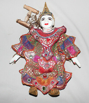 """Vintage Oriental Marionette Puppet Carved Jeweled Sequined 13"""" Tall"""