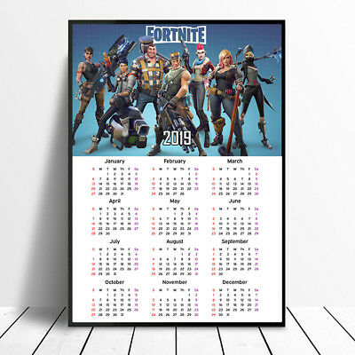 2019 Fortnite Calendar Poster Print New Year Christmas Gift Ps4 Xbox One