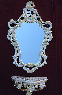 Wall Mirror Baroque White Gold with Console Table Antique Tray Shelf in the Set