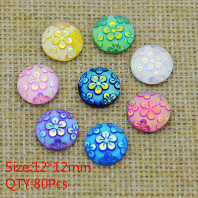 New 80PCS 12 mm Round Resin FlatBack Appliques/Craft/Wedding Sweaters Home Decor
