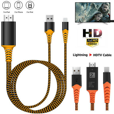 Braided HDMI Cable For iPhone iPad Screen To TV UHD Digital AV USB Charger Cable
