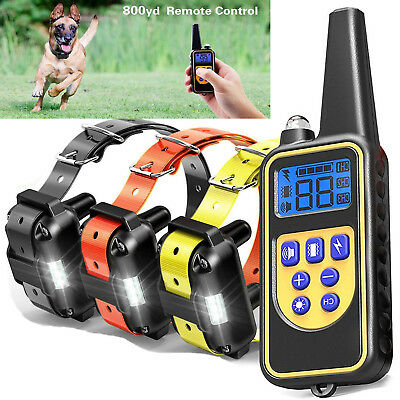 800m Dog Shock Training Collar Electronic Remote Control Waterproof for 3 Dogs