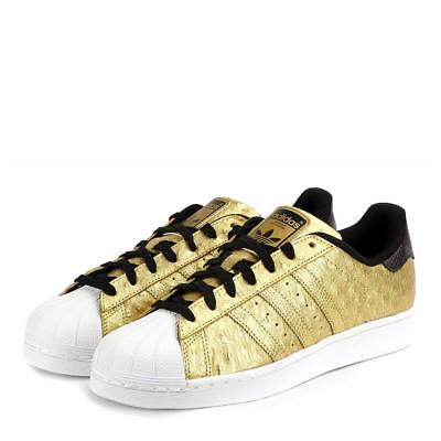 ea082a54414 Adidas Black   Gold Metallic Embossed Superstar White Rubber Cap Men s  Shoes NEW