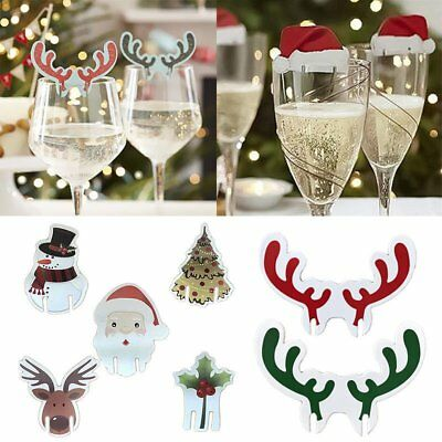 1Pc Christmas Santa Hat Table Red White Place Cards Name Wine Glass Decoration