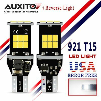 AUXITO 2X T15 921 Back up LED Bulb CANBUS 912 W16W Reverse Light 6000K WHITE
