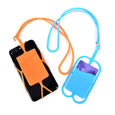 Convient Phone Silicone Wallet Case Credit ID Card Bag Holder Pocket Lanyard