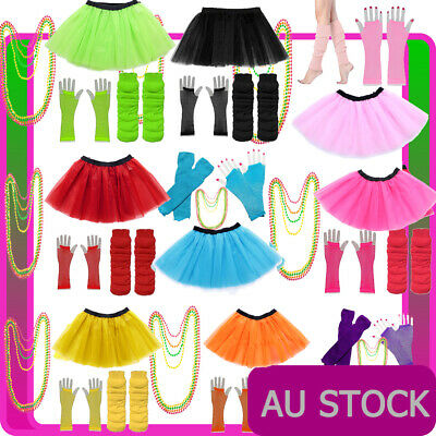 Ladies 1980s Tutu Skirt Fishnet Gloves Leg Warmers Necklace 80s Neon Costume