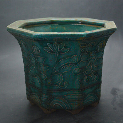 Chinese ancient antique hand make  Eight square flowerpot with green glaze
