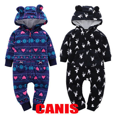 53280070d WINTER TODDLER BABY Boy Girl Xmas Zip Hooded One-piece Romper ...