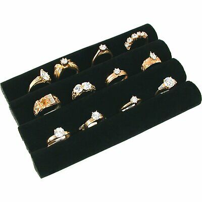 "3 Continuous Slot Black Velvet Ring Display Tray Insert 5 1/2"" x 3 1/4"""
