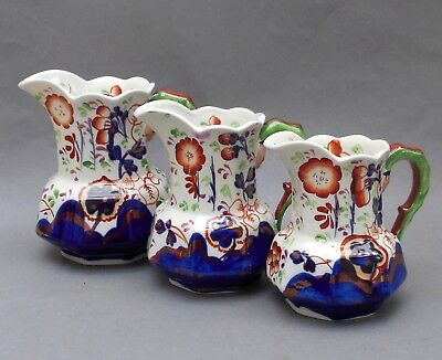 Graduated Set of 3 Antique Gaudy Welsh Jugs ~ Allertons Staffordshire ~ Hydra