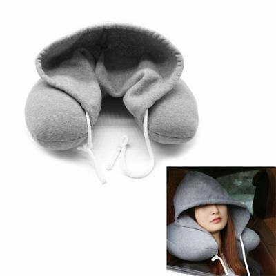 Soft Hooded U-Pillow Grey Nap Cotton Particle Cushion Body Neck Healthy Care New