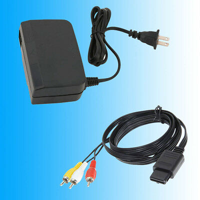 N64 AC Adapter Power Supply With 6FT AV Cable Cord For N64 Nintendo 64 Brand New