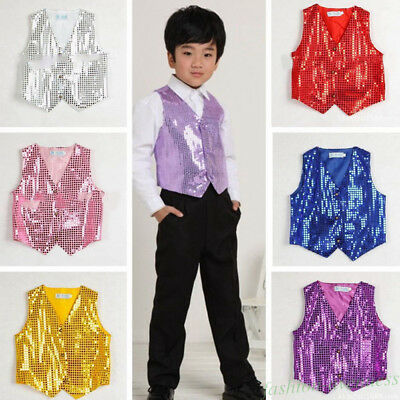 Boys & Girls Sequin Vest Waistcoat Dance Show Costumes Dancewear Fashion Tops