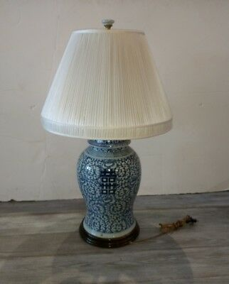 Large Antique Chinese Blue White Porcelain Jar Lamp