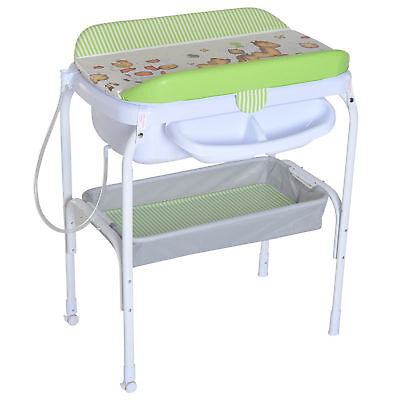 Folding Infant Bath Table Diaper Changing Station Nursery w/ Tube Green