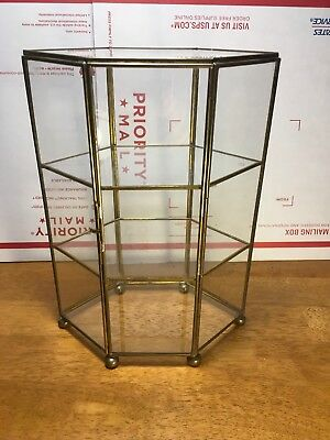 Curio Display Cabinet Table Top Brass & Glass Miniature
