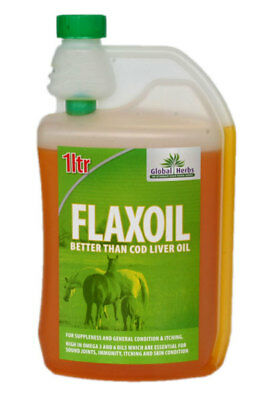 Equine Pure Flax Oil (Cold Pressed Linseed) - 1L - Global Herbs