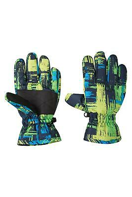 Mountain Warehouse Printed Kids Ski Gloves - Snowproof Fleece Lined Texture Palm