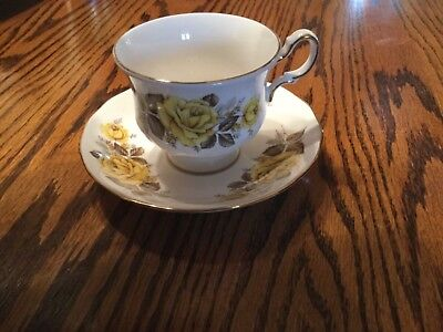 Queen Anne Fine Bone China Yellow Floral Design Tea Cup & Saucer Made in England