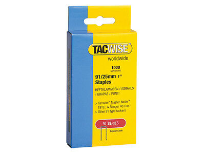 Tacwise 91 Narrow Crown Staples 25mm - Electric Tackers Pack 1000